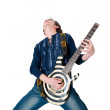 Guitarist with electric guitar — Stock Photo