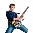 Guitarist with electric guitar - Stock Photo
