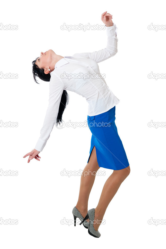 in white shirt and blue skirt stock photo