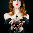Portrait of vampire woman - Stock Photo