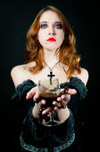 Portrait of vampire woman — Stock Photo