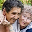 Actual gladness of elderly hugging — Stock Photo #4241290