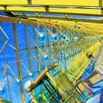 Glass Yellow corridor in office — Stock Photo