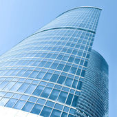 Modern blue office building corner — Stockfoto