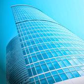 Modern blue office building corner — Stock Photo