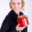 Attractive young girl with christmas vivid presents - Foto de Stock  