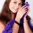 Attractive young girl with christmas vivid presents — Stock Photo #4520122