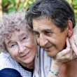 Actual gladness of elderly hugging — Stock Photo #5274091