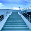 Blue staircase in metro station - Stock Photo