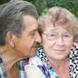 Actual gladness of elderly hugging — Stock Photo #5274405