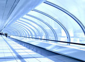 Blue diminishing hall inside metro station — Stock Photo