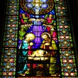 Stained-glass window in Basilica at the Montserrat Monastery in the mountai - Stock Photo