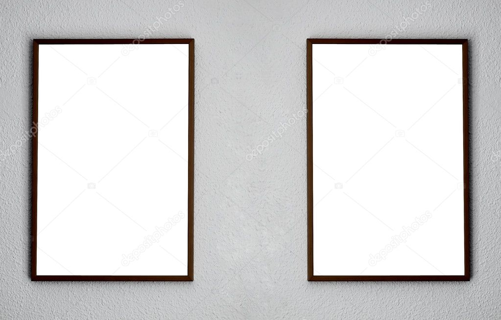 Empty two frames on white wall in the exhibition — Stock Photo #5327115