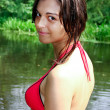 Portrait of the sexy brunette girl in nature - Stock fotografie