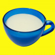 Stockfoto: Kefir in blue cup.