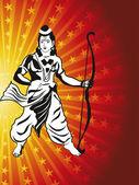 God rama with arrow and bow — Stock Vector