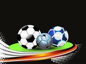 Fond avec ensemble de trois ballons de football — Vecteur