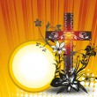 Background with floral decorated cross — Stok Vektör #5348727