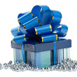Blue gift box isolted — Stock Photo