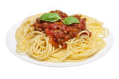 Spaghetti bolognese isolated — Stock Photo