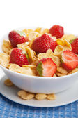 Cereal with strawberry isolated — Stock Photo