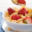 Stock Photo: Cornflakes with strawberry