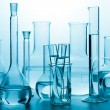 Laboratory glassware toned blue — Stock Photo