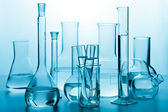 Laboratory glassware toned blue — Stock Photo