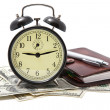Alarm clock and money isolated — Stock Photo