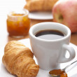 Breakfast with coffee and croissant — Stock Photo #5371555