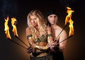 Fire show with torches — Stock Photo