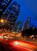 Wagons en mouvement rapides dans la nuit — Photo