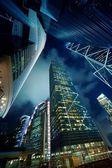 Modernos rascacielos en la noche — Foto de Stock