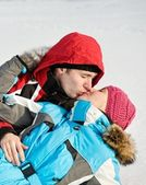 Lovely couple kissing outdoors — Stock Photo