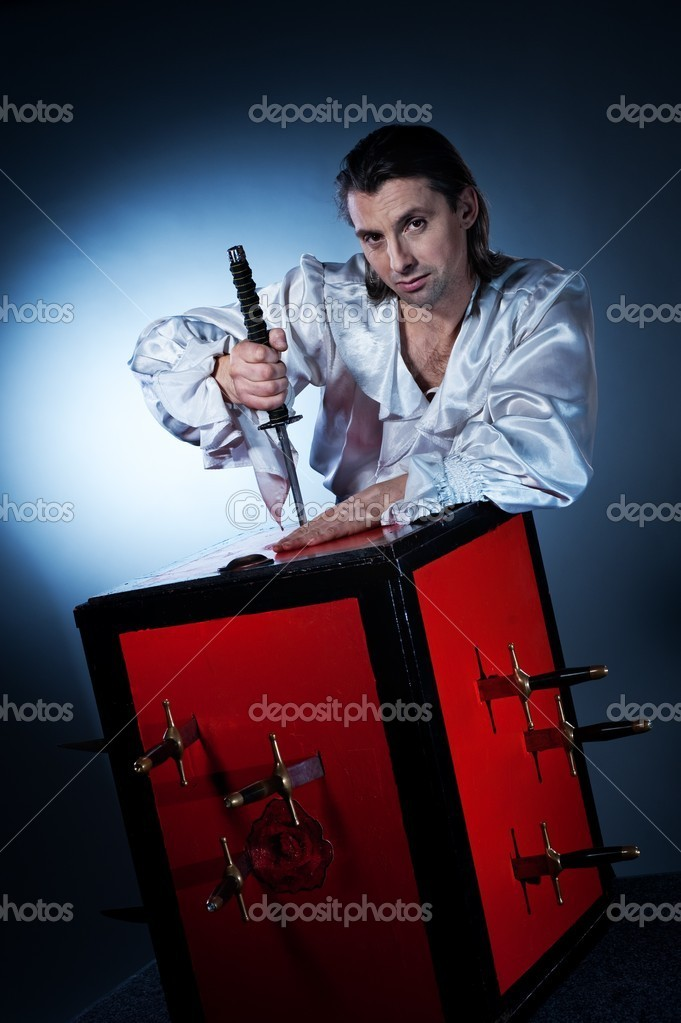 Sword box illusion — Stock Photo #5310601