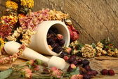 Wooden mortar, dog rose and dried flowers — Stock Photo