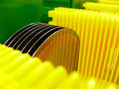 Silicone wafer in a yellow Carrier — Stock Photo
