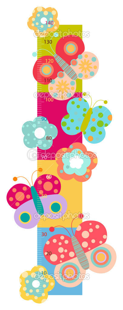 Height chart with flowers and butterflies  — Stock Photo #4376789