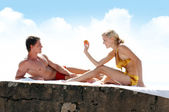 Love games on the beach — Stock Photo