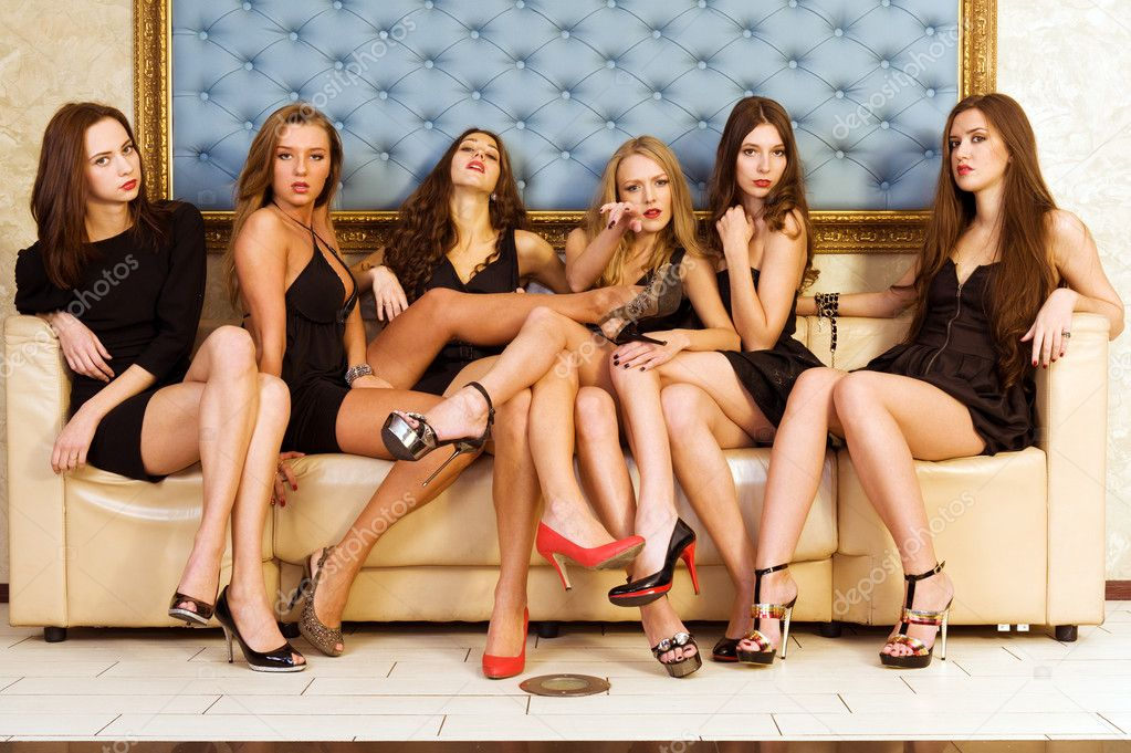 Group of the beautiful model in a black dresses  — Stock Photo #4135764