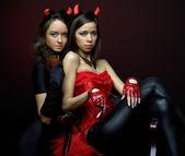 Two women in fancy dress — Stock Photo