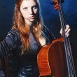 Cello musician, Mystical music - Stock Photo