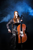 Cello musician, Mystical music — Stock Photo