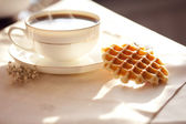 Hot coffee with wafers — Stock Photo