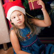 Girl waits gifts — Stock Photo