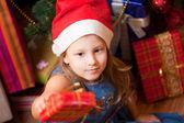 Girl waits gifts — Stock Photo