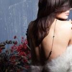 Young beautiful girl in a fur collar — Stock Photo #4452651