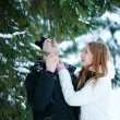 Guy and the girl enjoy winter walk — Stock Photo #4508193