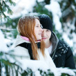 Guy and the girl enjoy winter walk — Stock Photo #4508207