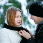 Guy and the girl enjoy winter walk — Stock Photo #4508215